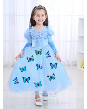 Halloween Blue Girls Dress Cinderella Long Sleeve Princess Dress Girl Autumn Ice Romance Performance Costume Dress