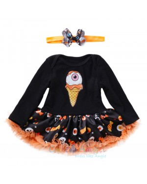 Halloween Tutu Costumes Skull Head Baby Tutu Romper headband Shoes Socks 4 Pcs Bebes Clothing Set Girl Halloween Tutu Costumes