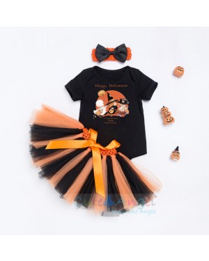 2018 New Short Sleeve Blouse Infant Handmade Dress Set Halloween Pumpkin Three-piece Suit
