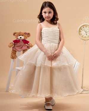UK Stunning Champagne Ankle Length A-line Flower Girl / DressPageant Dress